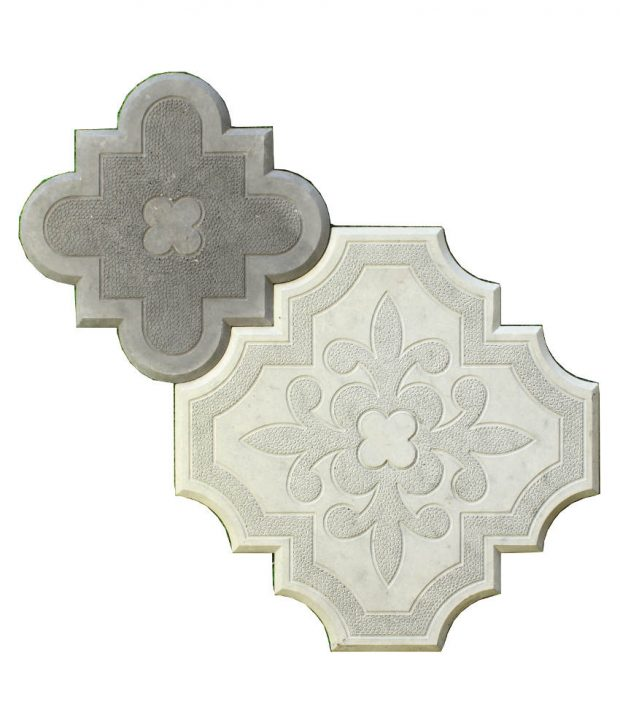 Grindinio trinkelės Klevo lapas su ornamentu pilka juoda